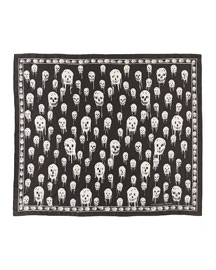 Dripping Skull-Print Silk Scarf, Gray/Brown
