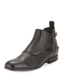 Men's Leather Monk-Strap Boot, Black