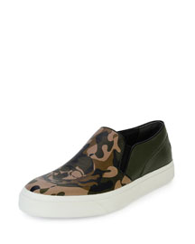 Camo-Print Slip-On Skate Shoe with Skull