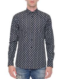 Multi Geo-Print Long-Sleeve Shirt, Navy