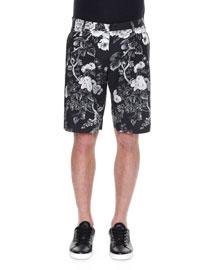 Rose-Print Bermuda Shorts, Black/White
