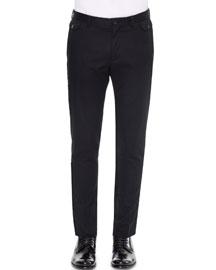 Front-Pocket Slim-Fit Dress Pants, Black
