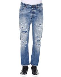 Distressed Medium-Wash Denim Jeans, Medium Blue