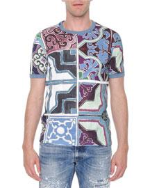 Majolica-Print Abstract Knit T-Shirt, Multi