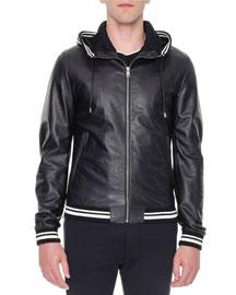 Leather Hooded Varsity Jacket, Black