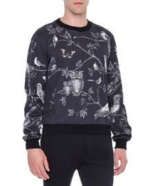 Forest-Print Crewneck Sweater, Black/White