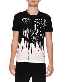 Dripping Flower-Print Knit T-Shirt, Black/White