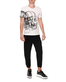 Skull-Drawing Crewneck T-Shirt, White/Black