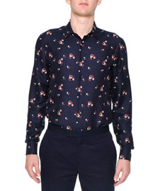 Floral-Print Long-Sleeve Shirt, Navy