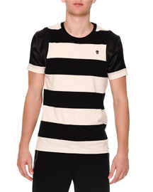 Mixed Media Striped Short-Sleeve Shirt, Black/White