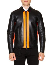 Leather Zip-Up Jacket with Contrast Panels, Black/Orange