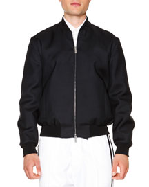 Nylon Bomber Jacket, Black