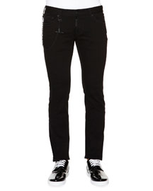 Slim-Fit Denim Jeans with Chain, Black