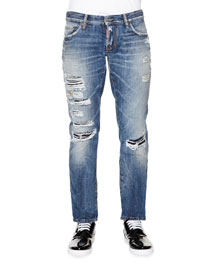 Slim-Fit Destroyed Denim Jeans, Medium Blue
