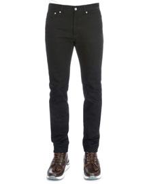 Studded Back-Pocket Denim Jeans, Black