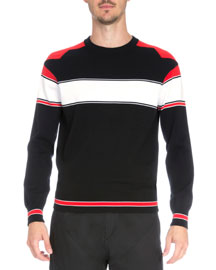 Intarsia Colorblock Long-Sleeve Sweater, Black/Red