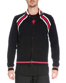 Striped Cotton Varsity Jacket, Black/Red