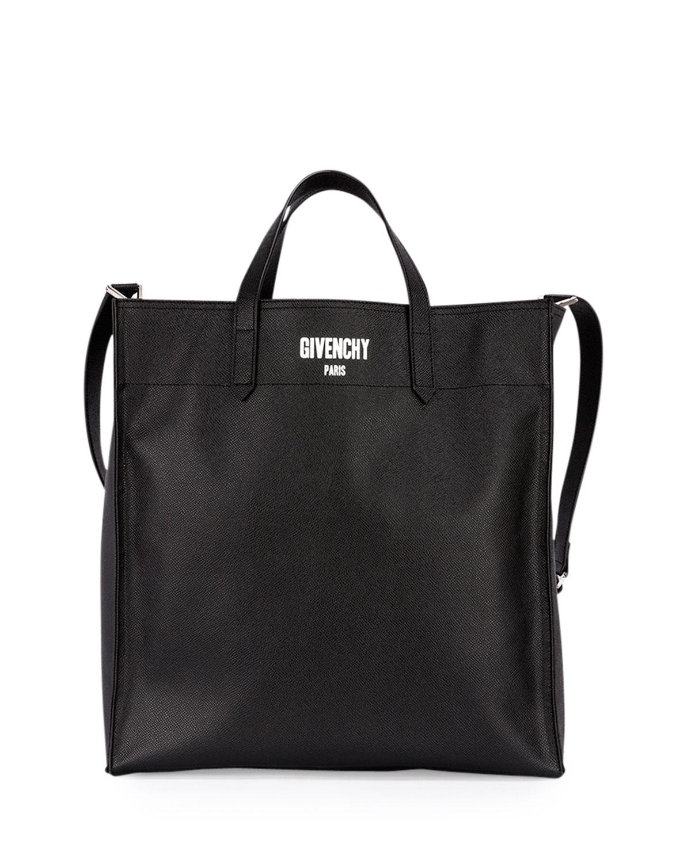 Givenchy Men's Logo Print Leather Tote Bag, Black