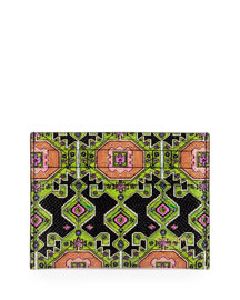 Persian-Print Leather Card Case, Green