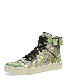 Blooms Printed Canvas High-Top Sneaker, Multi