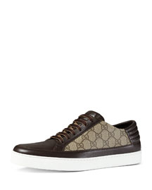 GG Supreme Leather Low-Top Sneaker, Brown