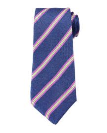 Striped Textured Silk/Linen Tie, Blue
