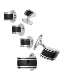 Curved Onyx Cuff Link & Stud Set, Silver/Black