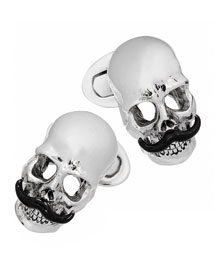 Skull with Mustache Cuff Links, Silver