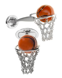 Basketball Hoop Cuff Links, Silver/Orange