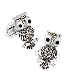 Owl with Marcasite Cuff Links, Silver