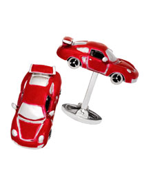Fast Race Car Cuff Links, Silver/Red