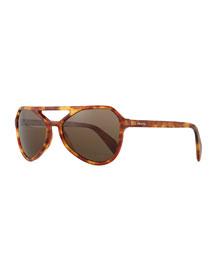 Plastic Irregular Aviator Sunglasses, Tortoise