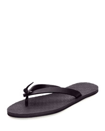 Leather Flip-Flop Sandal, Dark Navy