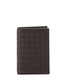 Fold-Over Leather Card Case, Brown