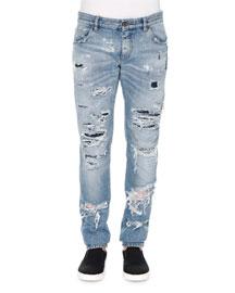 Light-Wash Distressed Denim Jeans, Light Blue