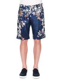 Bird-Print Silk Shorts, White/Black