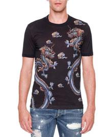 Dragon-Print Crewneck T-Shirt, Blue