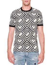 Geo-Print Short-Sleeve Henley Shirt, White/Black