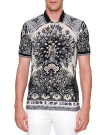 Peacock-Print Short-Sleeve Polo Shirt, Gray