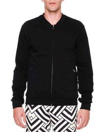Biker-Detail Zip Track Jacket, Black