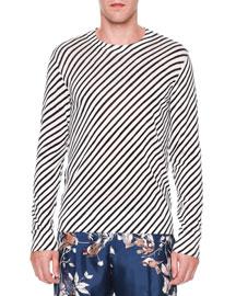 Diagonal-Stripe Crewneck T-Shirt, Navy/White