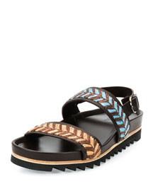 Libio 3 Woven Raffia and Calfskin Runway Sandal, Brown Multi
