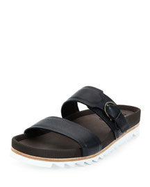 Lock Calfskin Slide Sandal with Side Gancio on Archival Sole, Navy