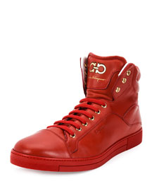 Stephen 2 Lambskin High-Top Sneaker, Red