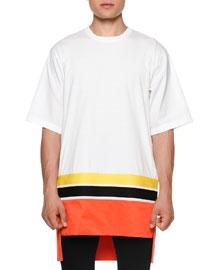 Colorblock Short-Sleeve Oversized T-Shirt, White/Orange