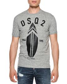 Surfboard Logo-Print Short-Sleeve T-Shirt, Gray