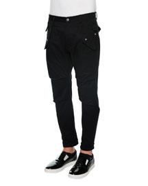 Slim-Fit Cargo Pants, Black