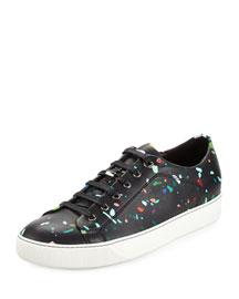 Confetti-Print Leather Low-Top Sneaker, Multi
