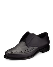 Two-Tone Leather Slip-On Derby Shoe, Gray/Black
