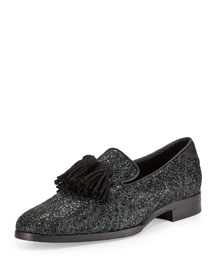 Foxley Coarse Glitter Leather Tassel Loafer, Black/Green